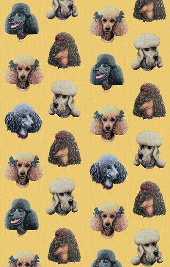 Poodle Parlour in Retro Lemon - Wallpaper