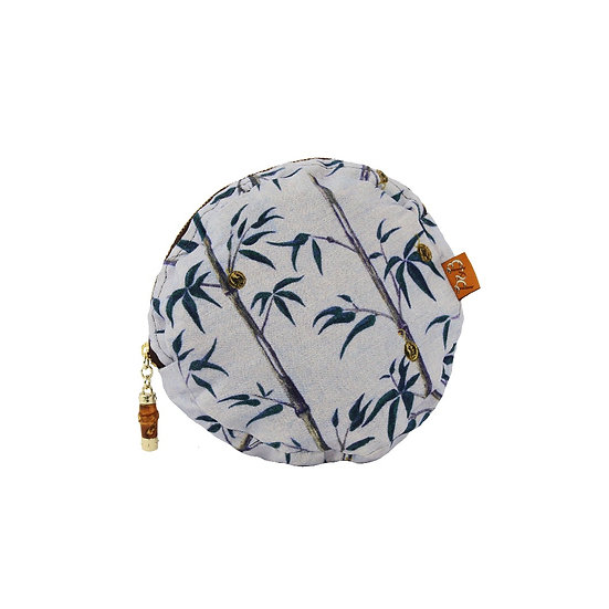 Lilac Floral Print Linen Makeup Bag