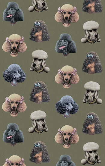 Poodle Parlour in Moss - Wallpaper