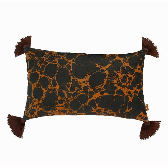 Brown Marble Rectangle Velvet Cushion with Tassels