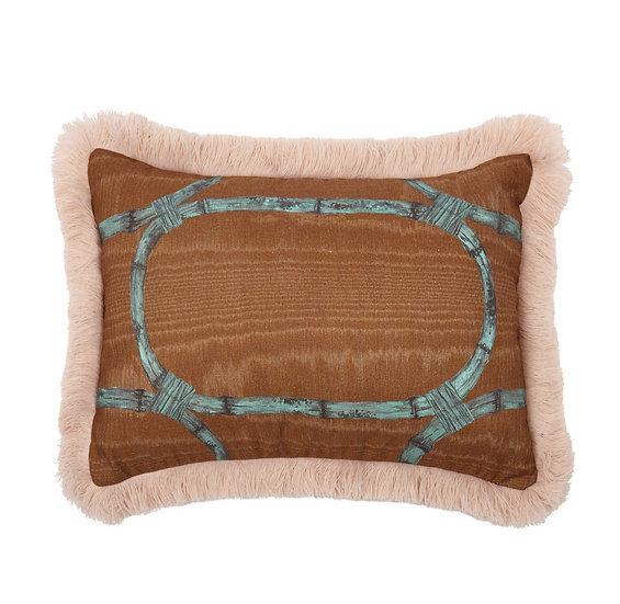 Rectangle Linen Cushion - Tea Room in Walnut