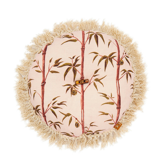 Circle Linen Cushion - Money Tree in Valentine