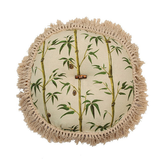 Green Floral Print Round Cushion