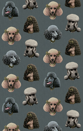Poodle Parlour in Midnight - Wallpaper