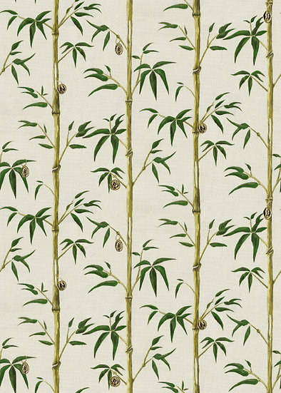Poodle and Blonde Printed Money Tree Wallpaper in Bamboo