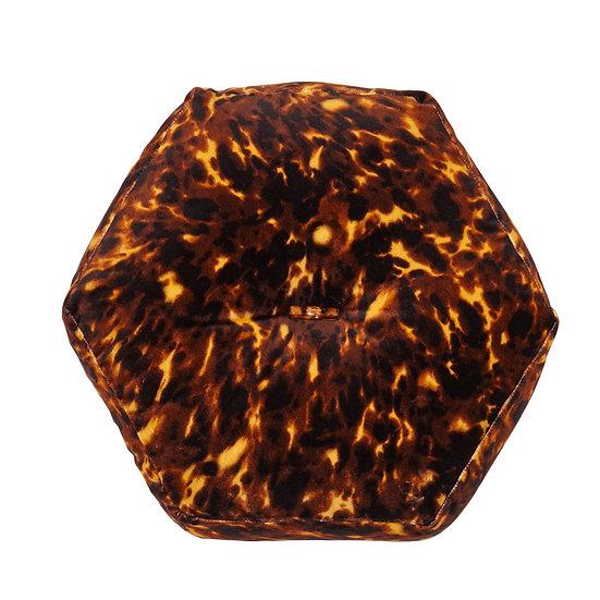 Hexagon Velvet Cushion - Lonesome George in Walnut