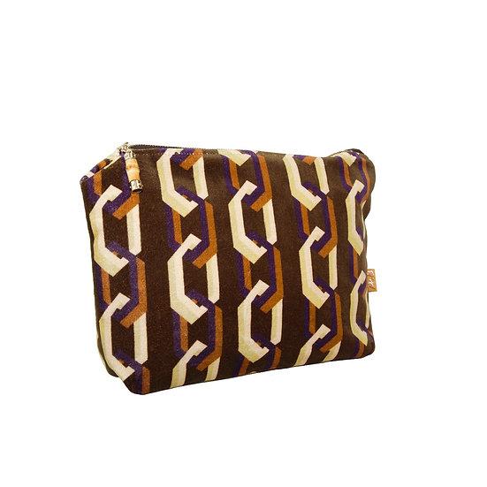 Geometric Print Velvet Large Wash bag