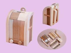 木製ランドセルパズル 大 (貯金箱付き)