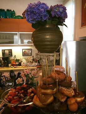 Donut birthday cake and buffet