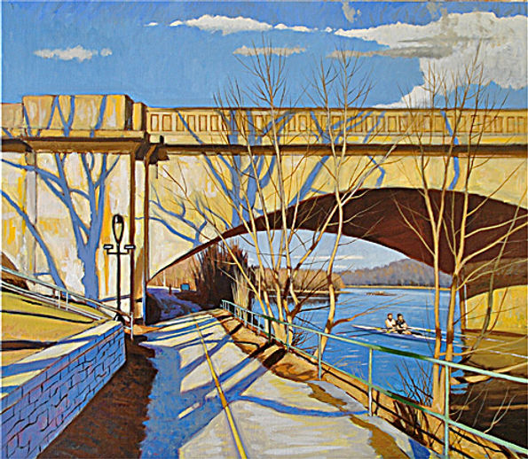 Schuylkill River- Spring Light   Oil on