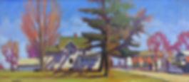 Lansing,NY, Spring. Oil on panel 12 x 26