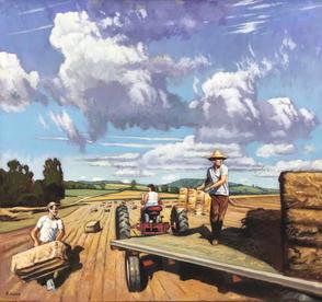 Heaving Hay- Harvest in PA oil on linen