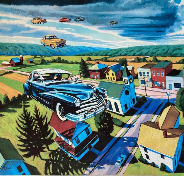 Pontiac in Flight with Chevys