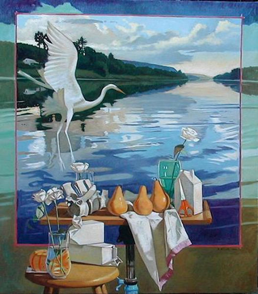 River Still Life with White Heron oil 47