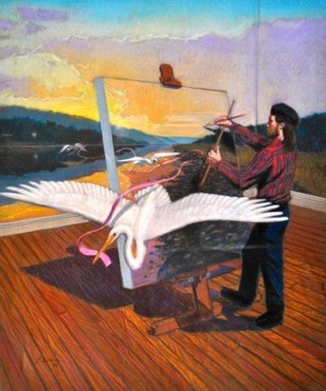 Auspicium Pastel on paper, 38 x 31 $3,40