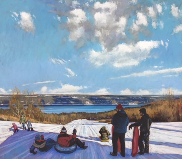 January Slope over Cayuga Lake. Oil on linen 26 x 30 $2800