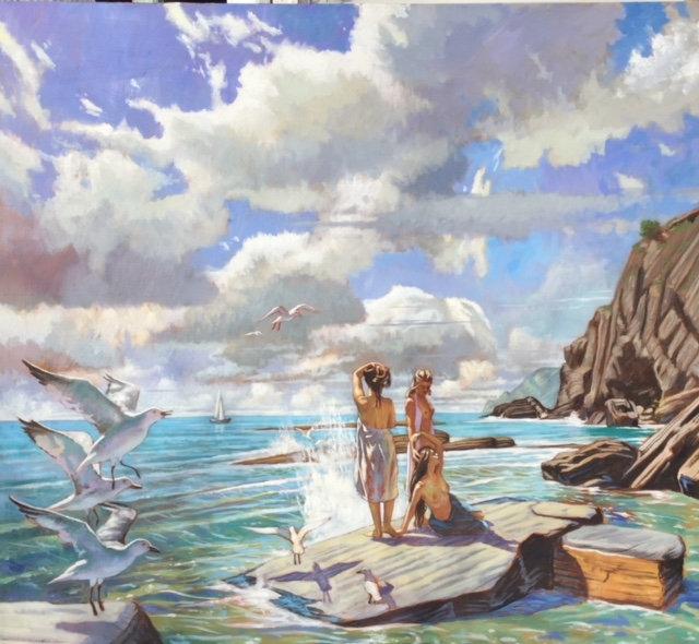 Ulysses Sirens, Tyrrhenian Sea. Oil on l