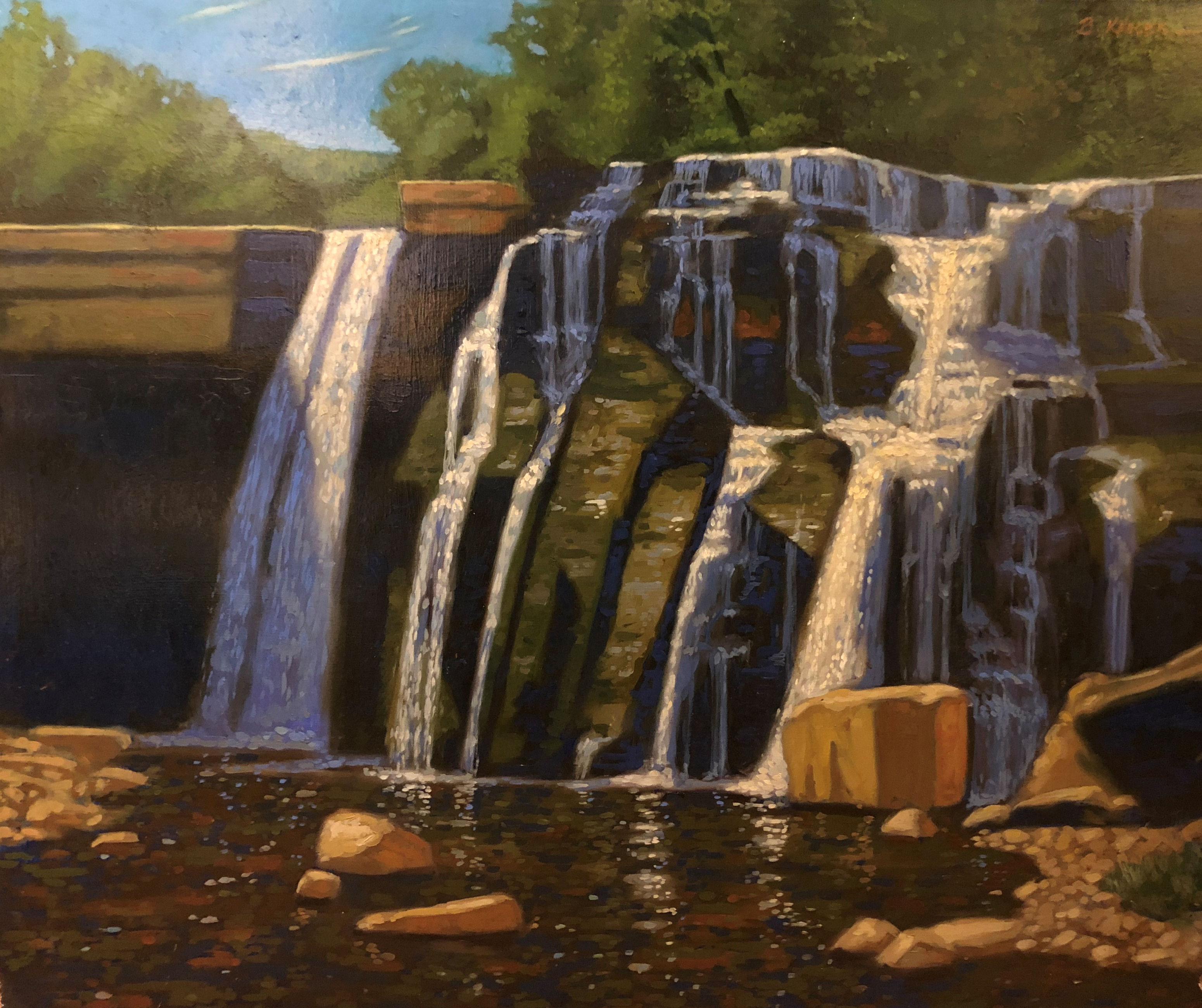 Cascadilla Falls, Ithaca, NY oil on panel, unframed, 23 x 28, SALE $2000.