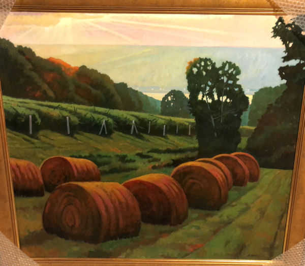 August Morning Bales - Keuka Lake-oil,36x40,5400