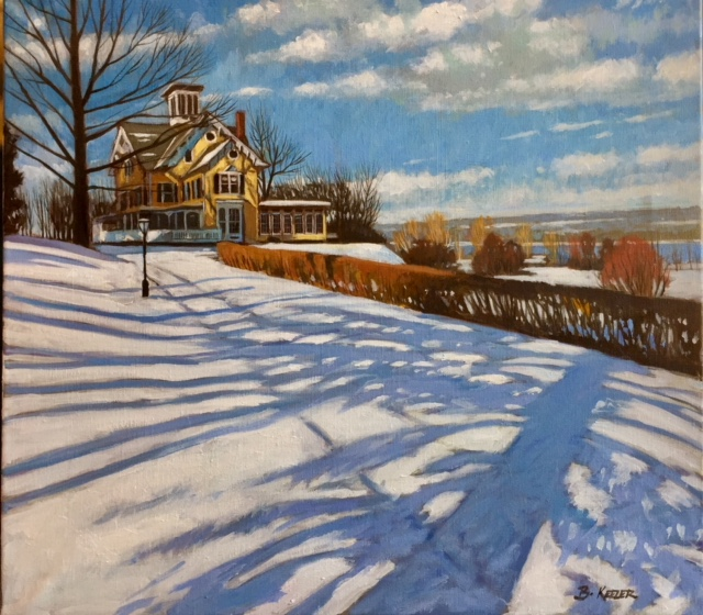 Cayuga Winter Light at Taughannock oil on linen 18x20 $1600