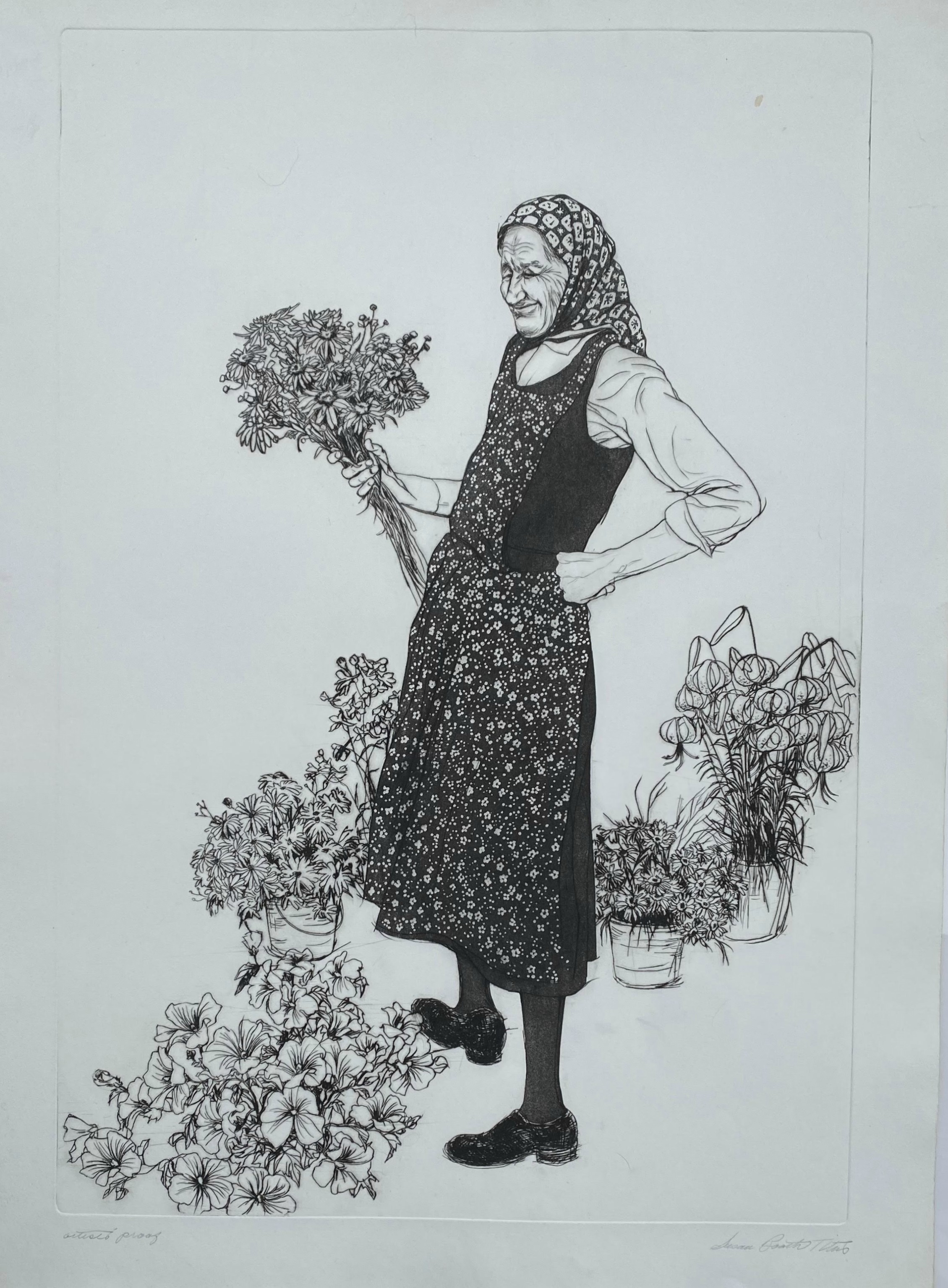 Market Woman With Flowers