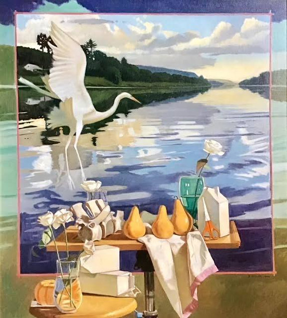 River_Still_life_with_White_Heron__oil_o