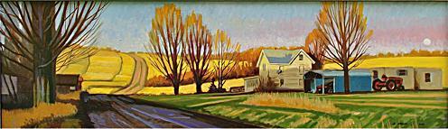 Edinger Hill Wnter Moonrise Oil on panel 10 x 28 $1400