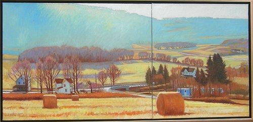 Winter Solstice, Colley, PA oil diptych, approx. 34 x 54, $8,400