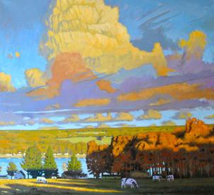 October Lake Clouds, Cows. Lake Waneta,