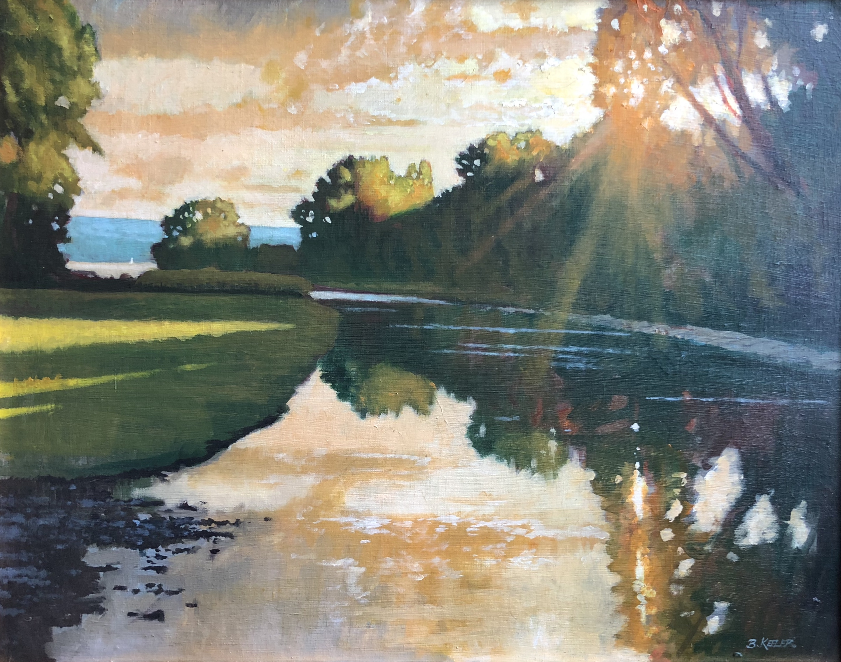 Salmon Creek- August Light, oil on linen on panel,22 x 28, $2200.