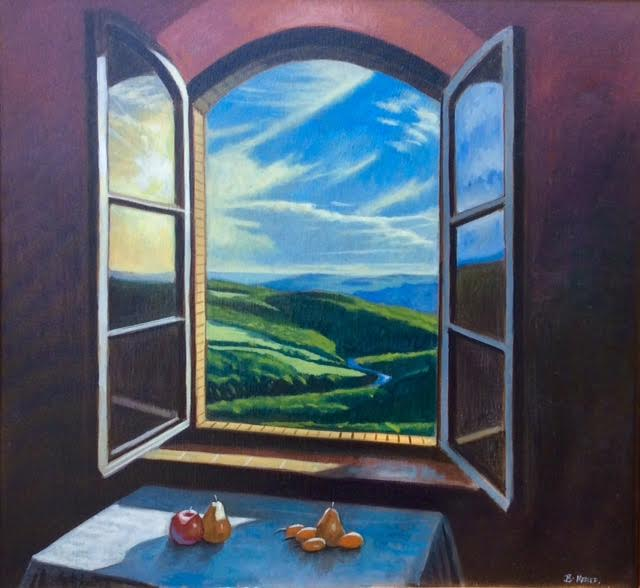 Still Life Over Tuscan Landscape