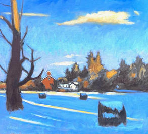 "Ellis Hollow- Winter Light""  Sketch oil on pane"
