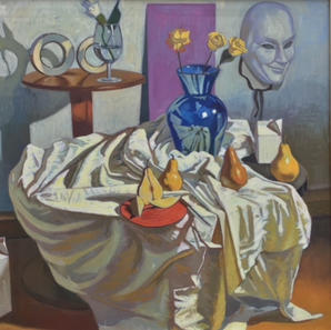 Four Pears, Four Roses Still Life
