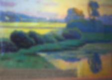 Spring Hill Pond- June Evening.  Pastel