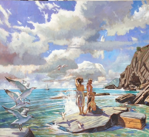 Ulysses Sirens, Tyrrhenian Sea. Oil on l
