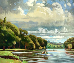 Cayuga Scullers under July Clouds.   Oil