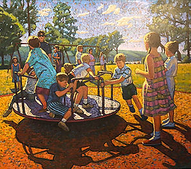 Children at Stewart Park, oil, 46x54.png