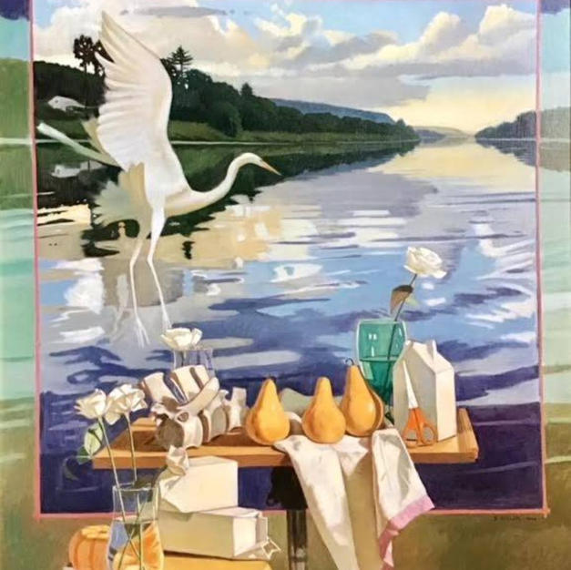 River Still Life With White Heron