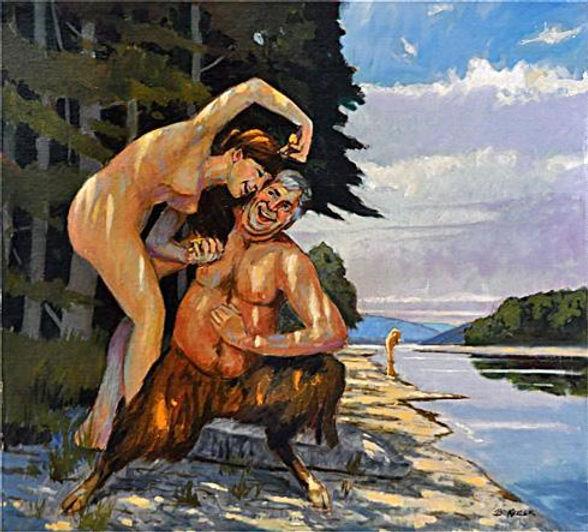 Deinira_and_Nessus_Oil_on_Canvas_on_pane