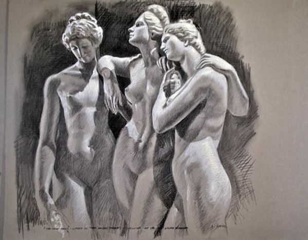 Three Graces, charcoal on paper 34 x 36