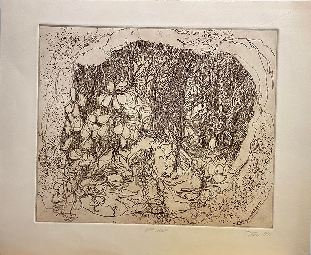 3rd State, brown ink etching, 16 x 18.5,