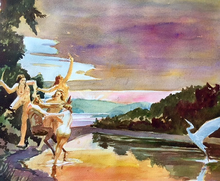 Bacchantes Frolic with a Satyr on a River Island on Early Summer Eve.