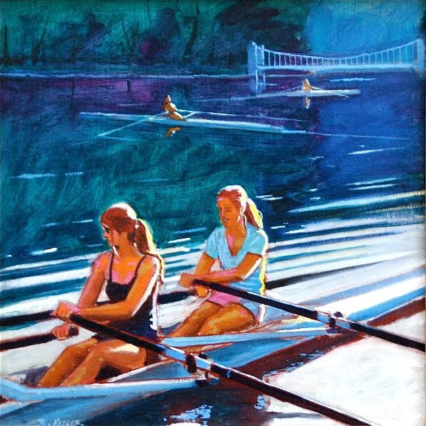 Cayuga Light Two Girls (Sculling)