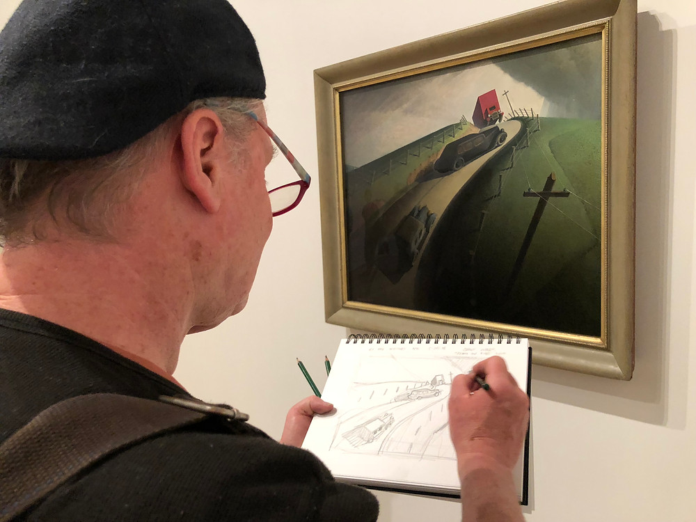 "Brian Keeler Sketching from Grant Wood's painting, ""Death on Ridge Road."""
