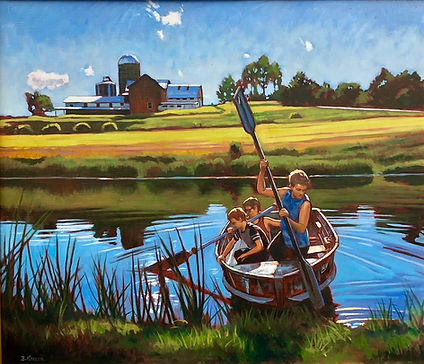 Pushing_Off-_Sheshequin_Pond._Oil_on_lin