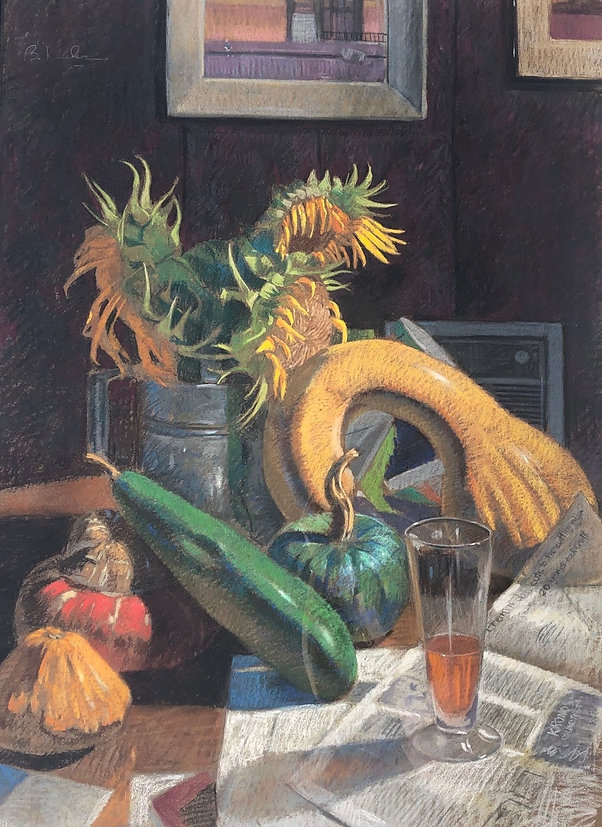 Still_Life_with_Sunflower_Pastel_on_pape