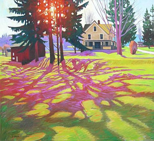 Vernal Lawn Light, New ALbany, PA Oil on