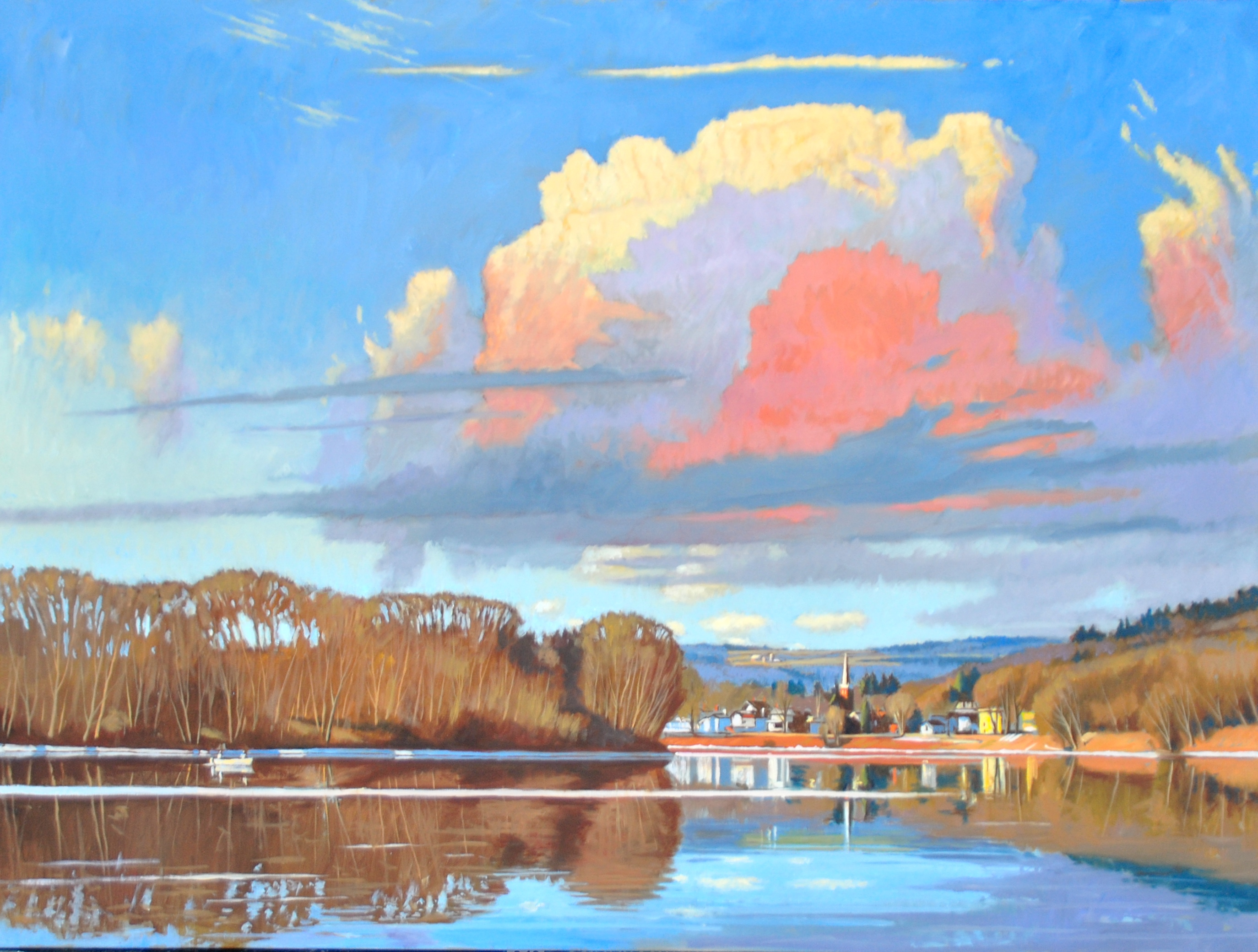 Susquehanna at Owego, Winter Clouds - Copy