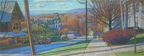 Spring Afternoon, Aurora Street, Ithaca, NY pastel,16 x 42 $2,800