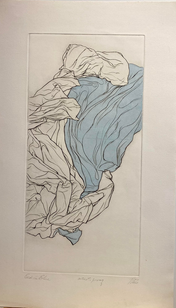 Bed in Blue, etching with blue watercolo